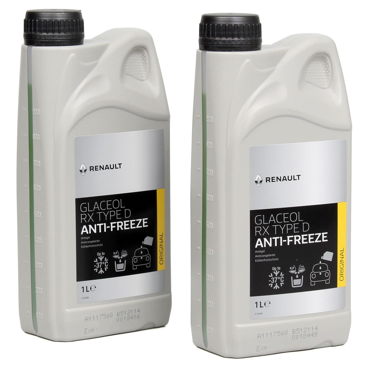 2x 1 Liter ORIGINAL Renault Frostschutz Kühlerfrostschutz Glaceol RX Type D GRÜN