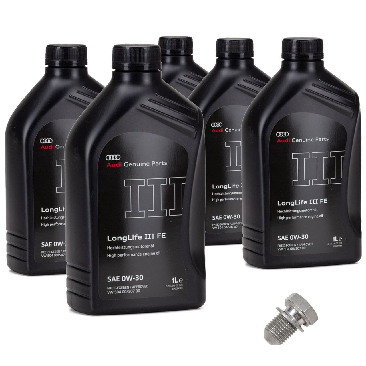 ORIGINAL AUDI Motoröl Öl Longlife 3 III SAE 0W-30 504.00 507.00 GS55545D2 - 5L + Schraube