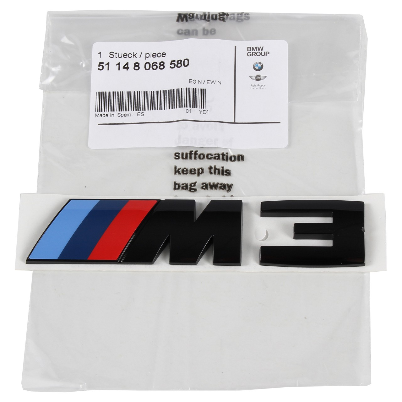 ORIGINAL BMW M3 Emblem Schriftzug Heckklappe SCHWARZ 51148068580 für F30 F80