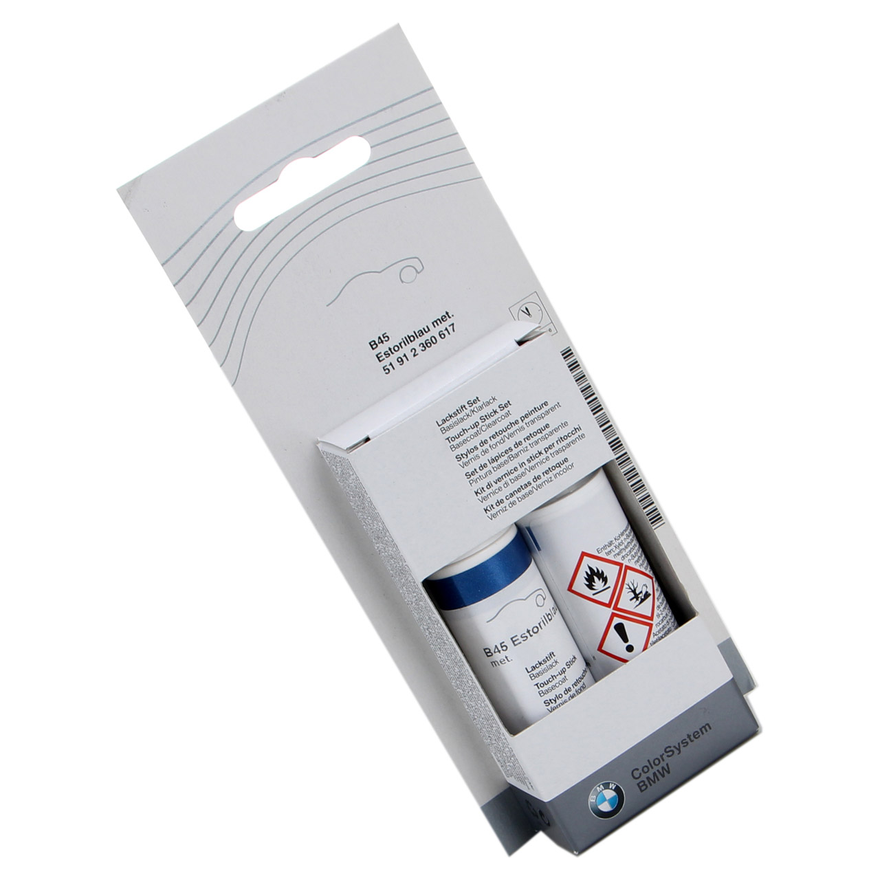 ORIGINAL BMW Lackstift Set ESTORILBLAU met. B45 + Klarlack 12ml 51912360617