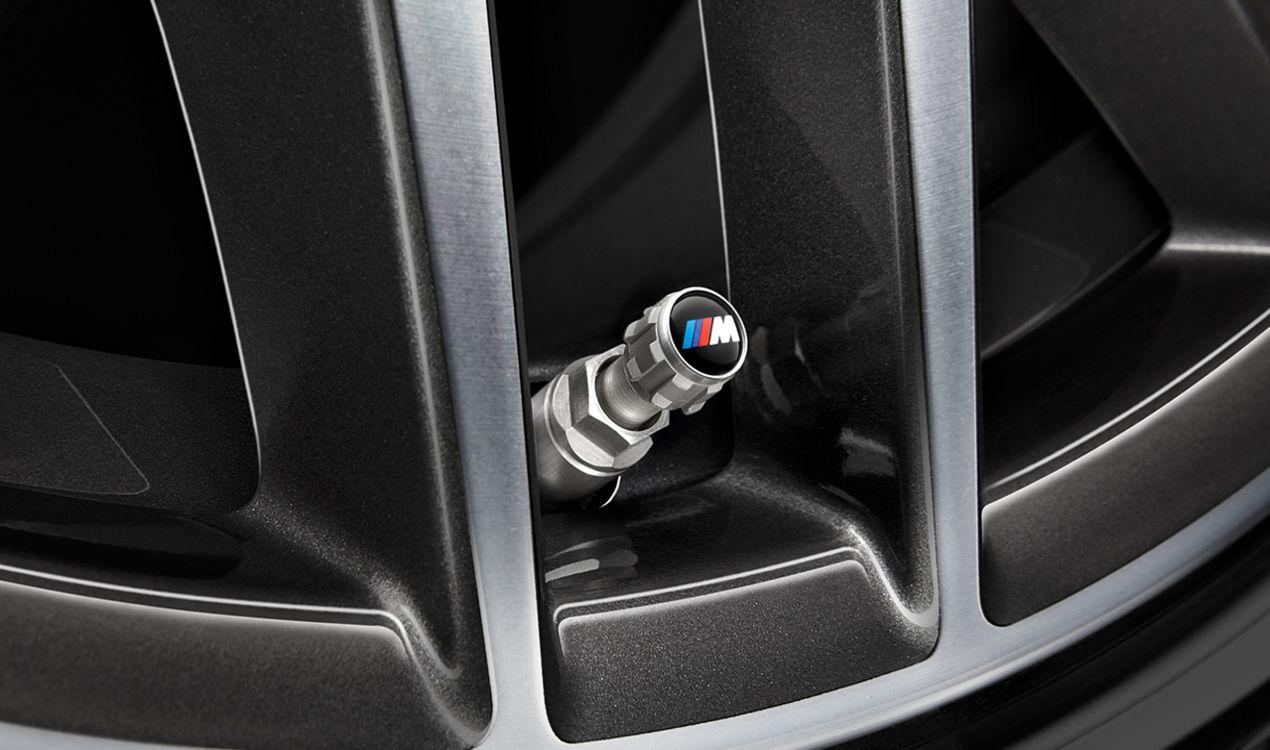 ORIGINAL BMW Ventilkappen Schutzkappen Satz M Emblem Aluminium 36122447402