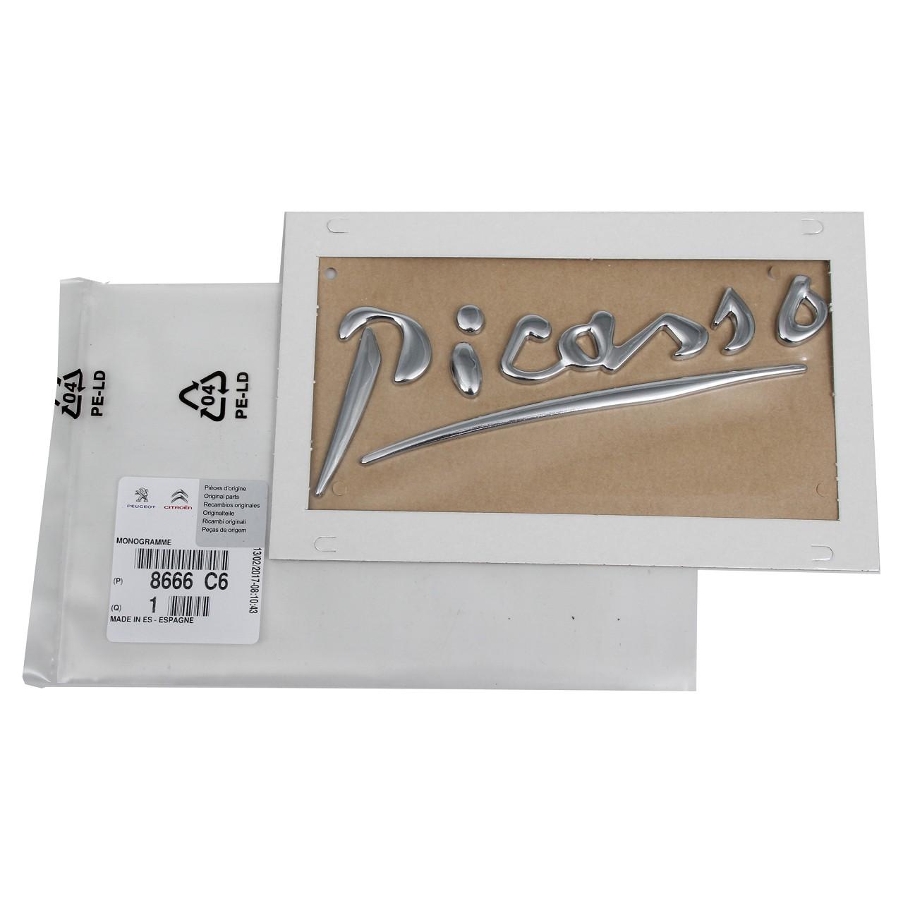 """ORIGINAL Citroen Emblem Schriftzug """"PICASSO"""" vorne CHROM 8666.C6 für C3 PICASSO"""