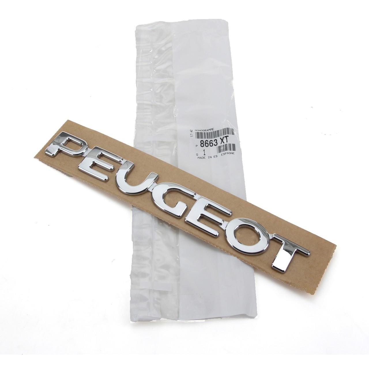 ORIGINAL Peugeot Emblem Plakette Schriftzug Logo Heckklappe 206 8663.XT