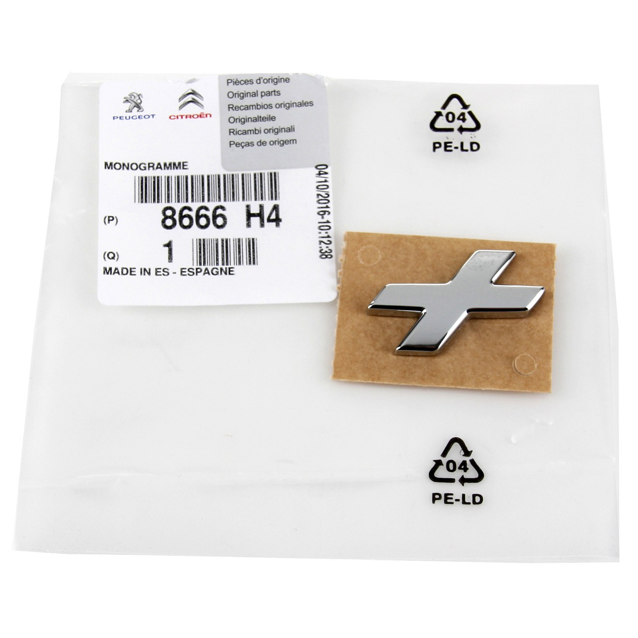 ORIGINAL Peugeot Emblem Logo Plakette Heckklappe CHROM 8666.H4 für 206+ (T3E)