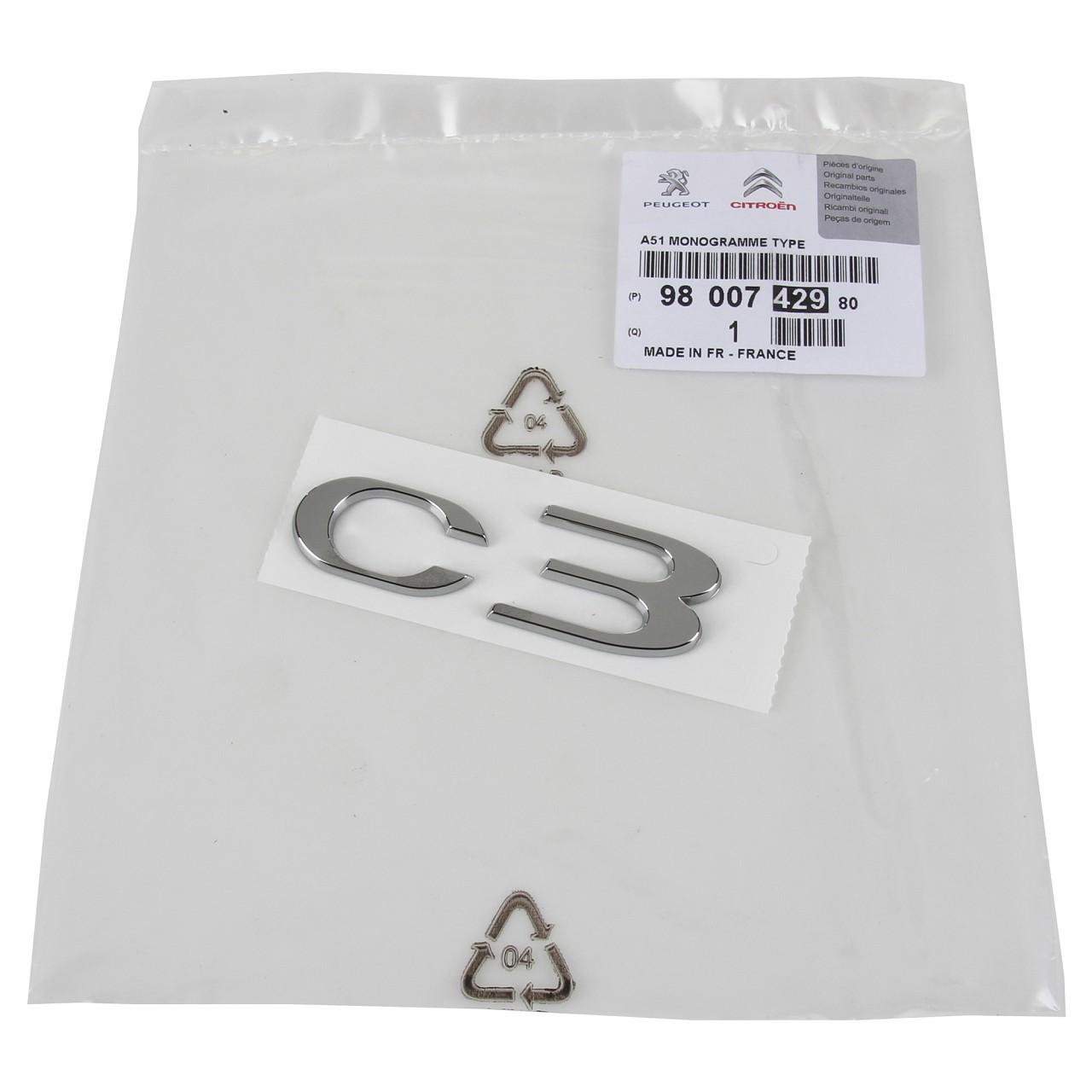 ORIGINAL Citroen Emblem Logo Schriftzug Heckklappe RECHTS 9800742980 für C3 II
