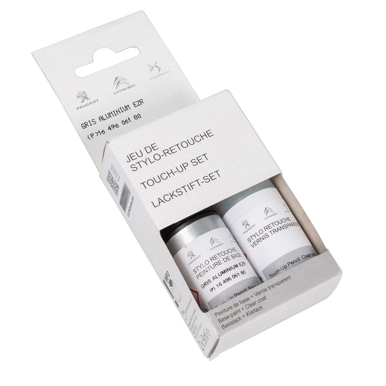ORIGINAL PSA Lackstift Set GRAU Aluminium EZR + 9ml Klarlack 1649606180