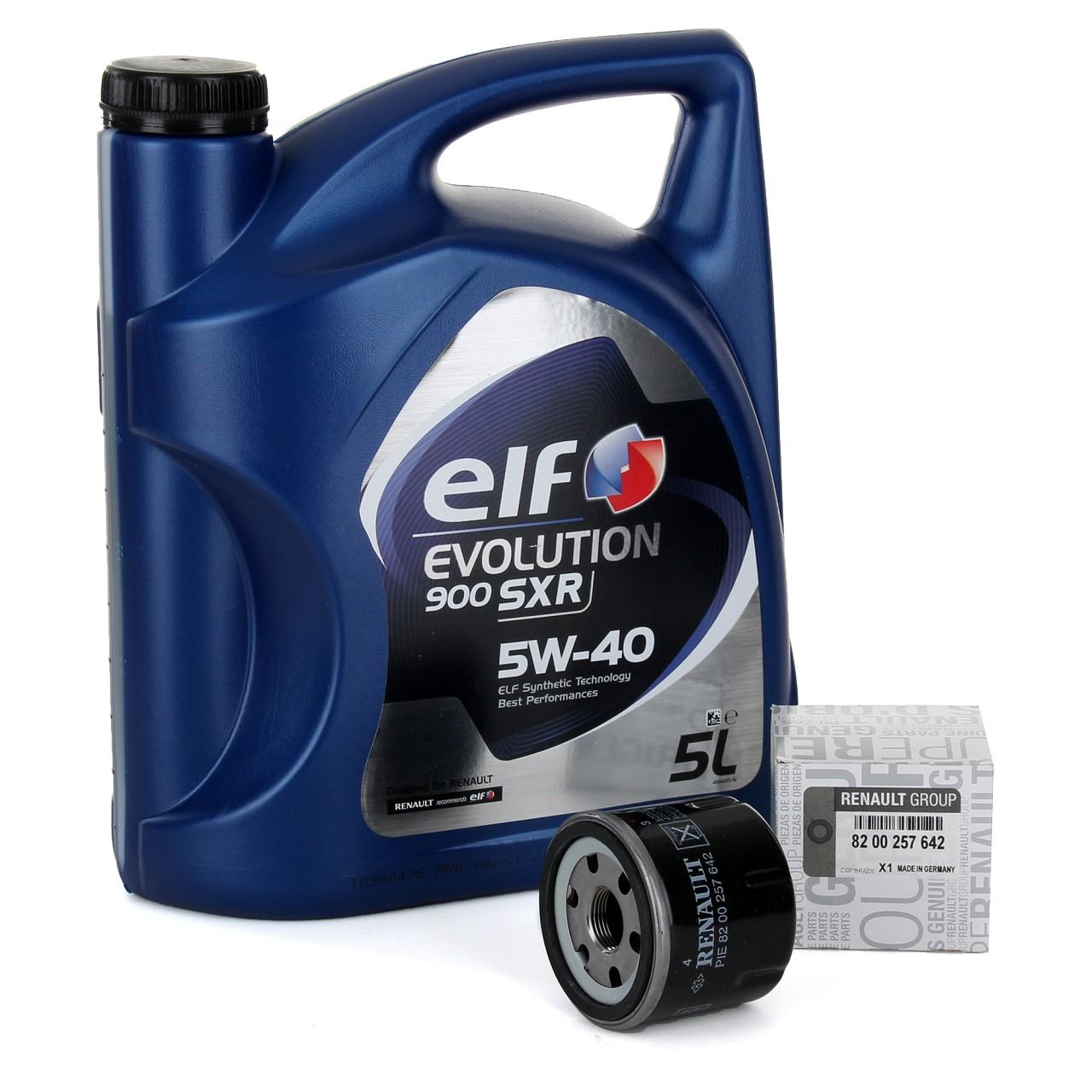 5L elf Evolution 900 SXR 5W-40 Motoröl + ORIGINAL Renault Ölfilter 8200257642