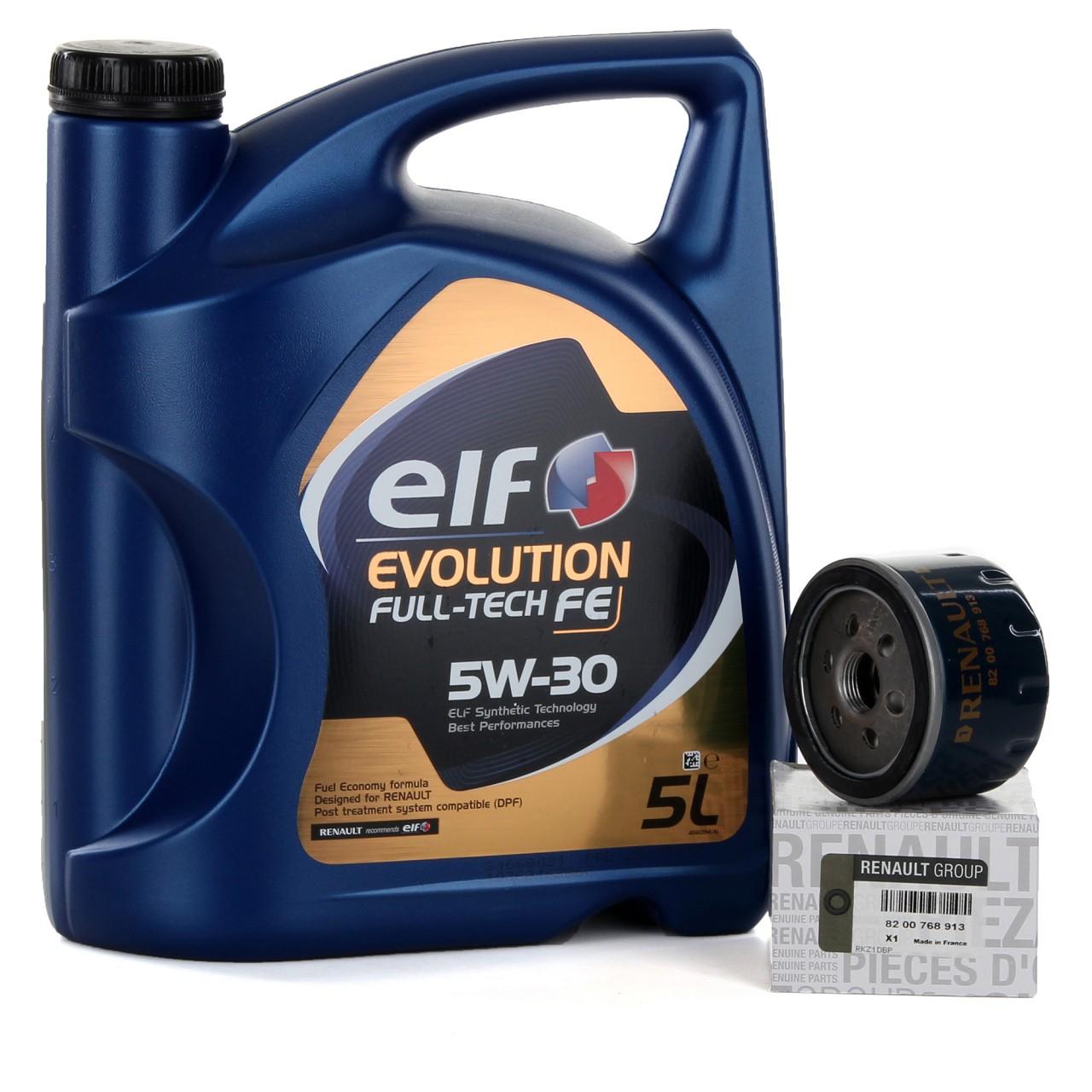 5L elf Evolution Full-Tech FE 5W-30 Motoröl 5 L + ORIGINAL Ölfilter 8200768913