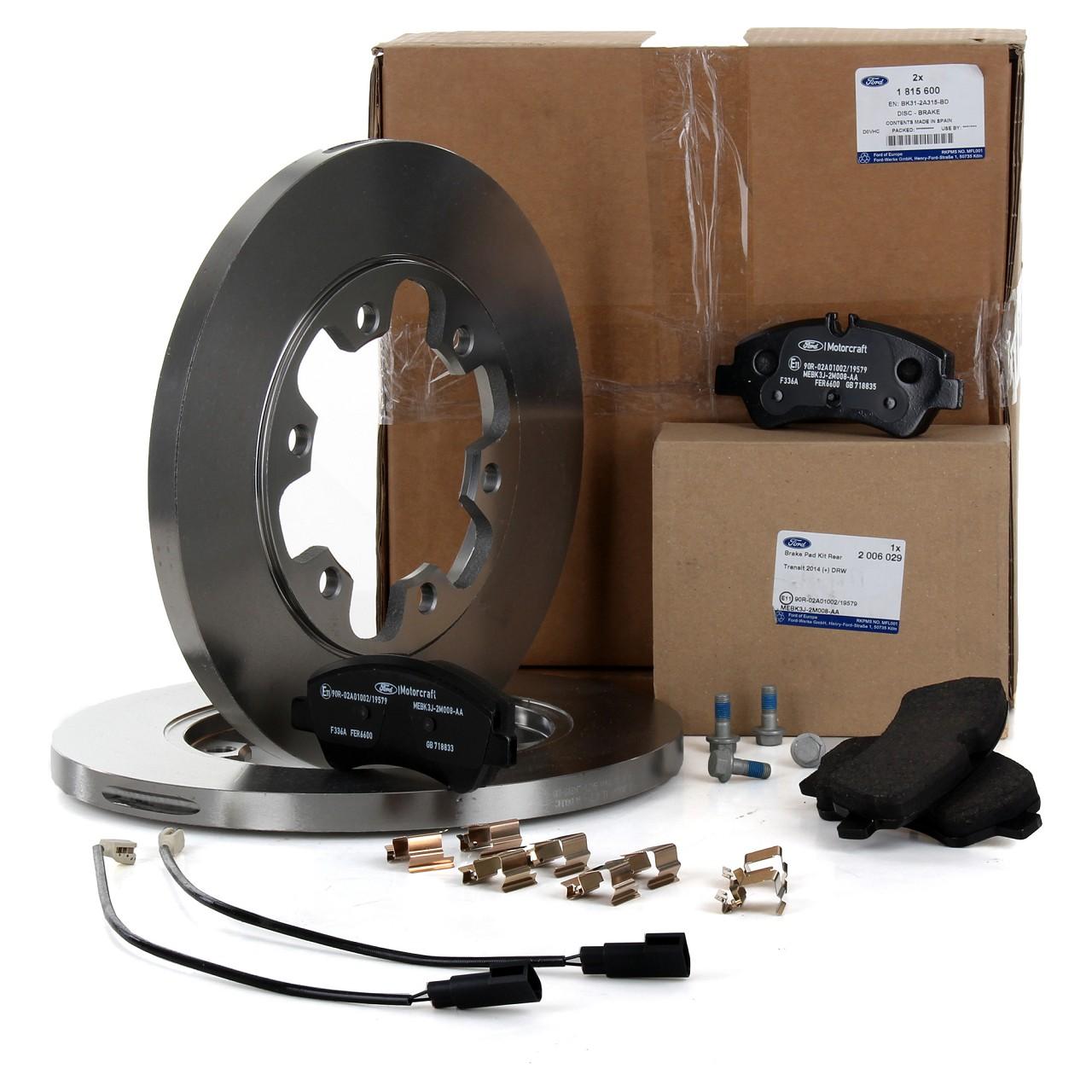 ORIGINAL Ford Bremsscheiben + Bremsbeläge + Wako TRANSIT ab 01.2014 hinten