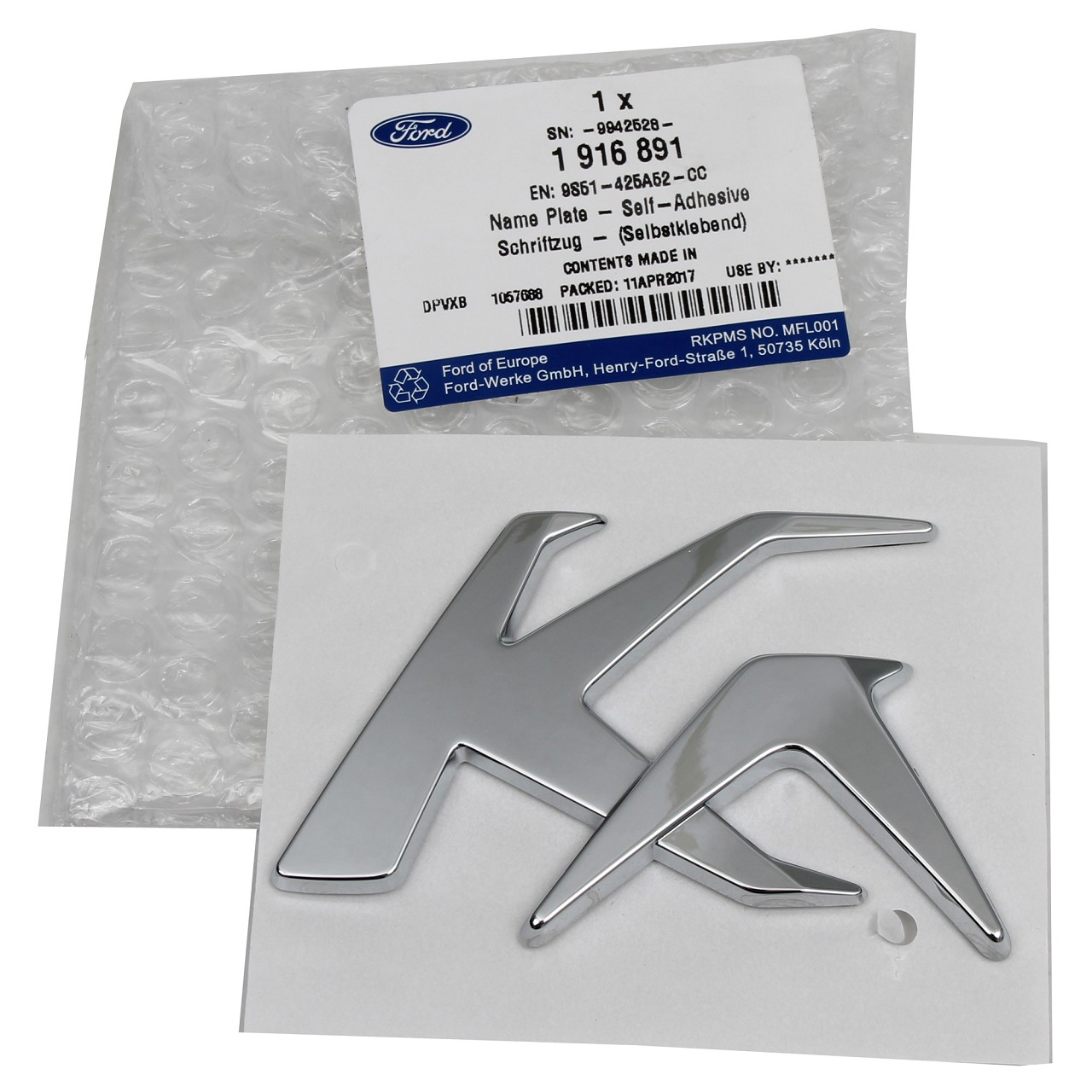 "ORIGINAL Ford Emblem Logo Schriftzug ""KA"" Heckklappe 1916891 für KA (RU8)"