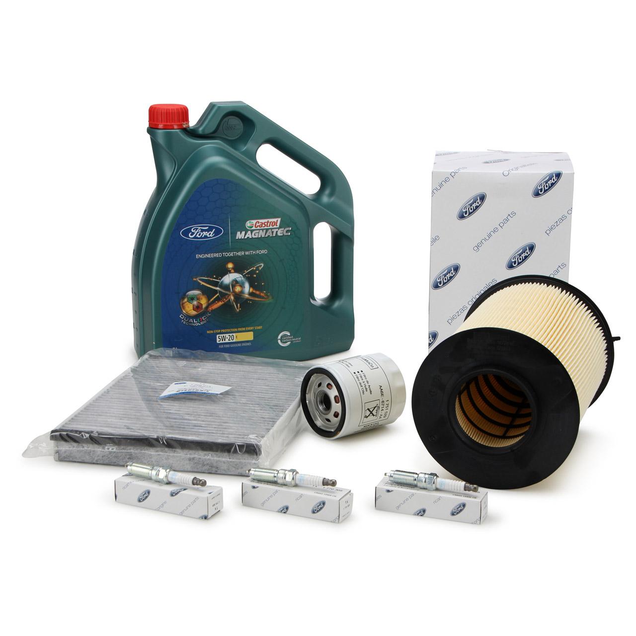 ORIGINAL Ford Inspektionskit + 5 L 5W20 Motoröl + 3x Zündkerze für 1.0 EcoBoost