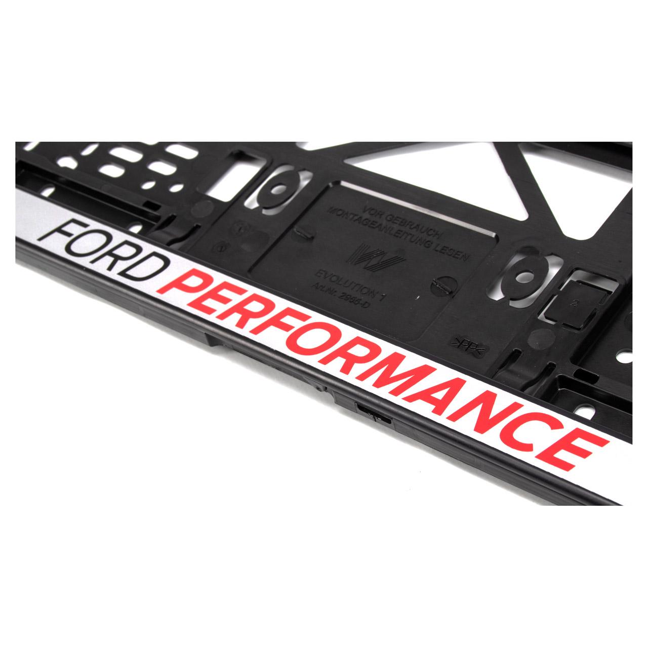 2x ORIGINAL Ford Performance Kennzeichenhalter SCHWARZ / SILBER mit Logo 2372314