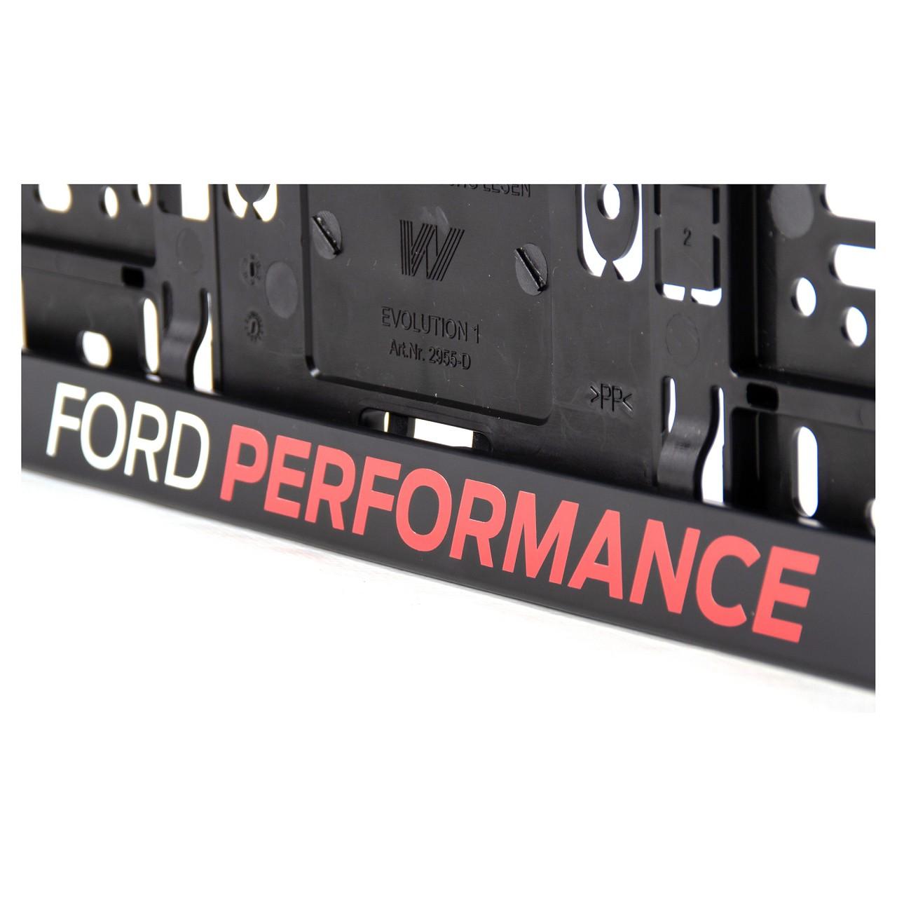 2x ORIGINAL Ford Performance Kennzeichenhalter SCHWARZ mit Logo 2372312