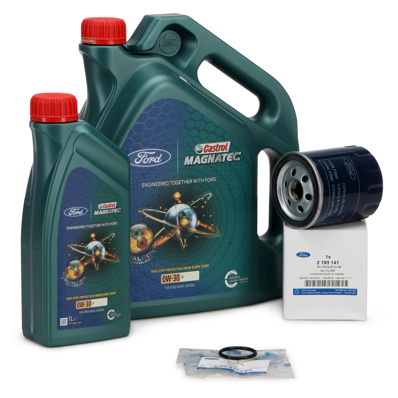 ORIGINAL Ford CASTROL 0W30 6L + Filter 2193141 + Dichtring Focus Galaxy Mondeo 5 2.0 TDCi
