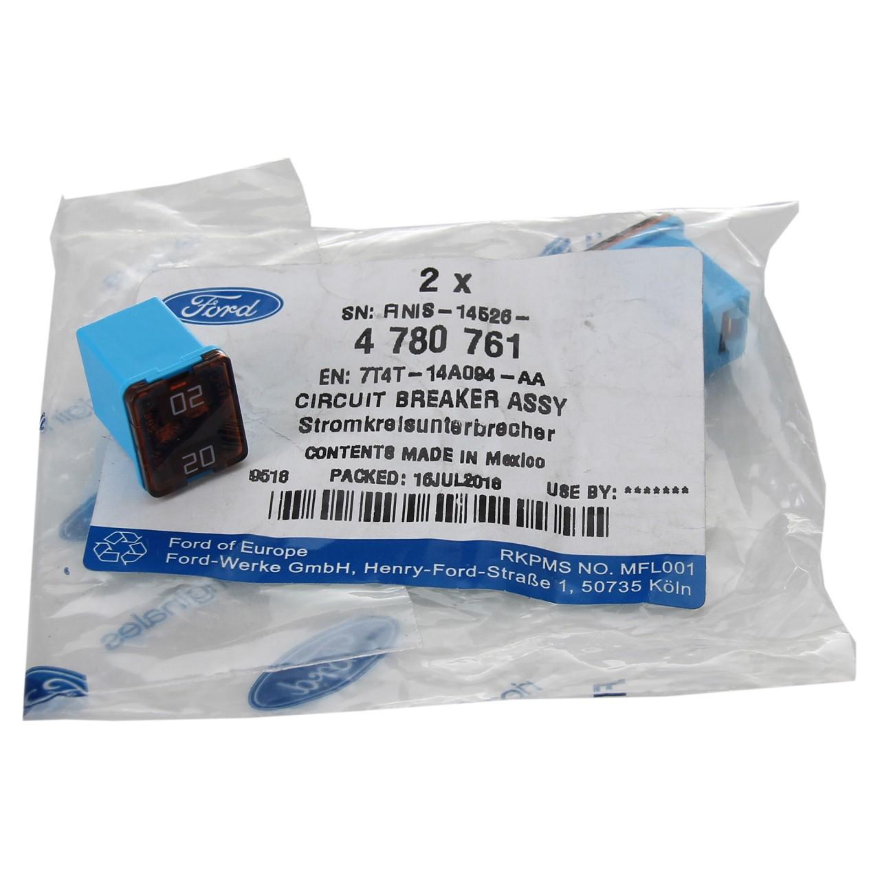 2x ORIGINAL Ford Stecksicherung Sicherung HELLBLAU 20A bis 58V 4780761