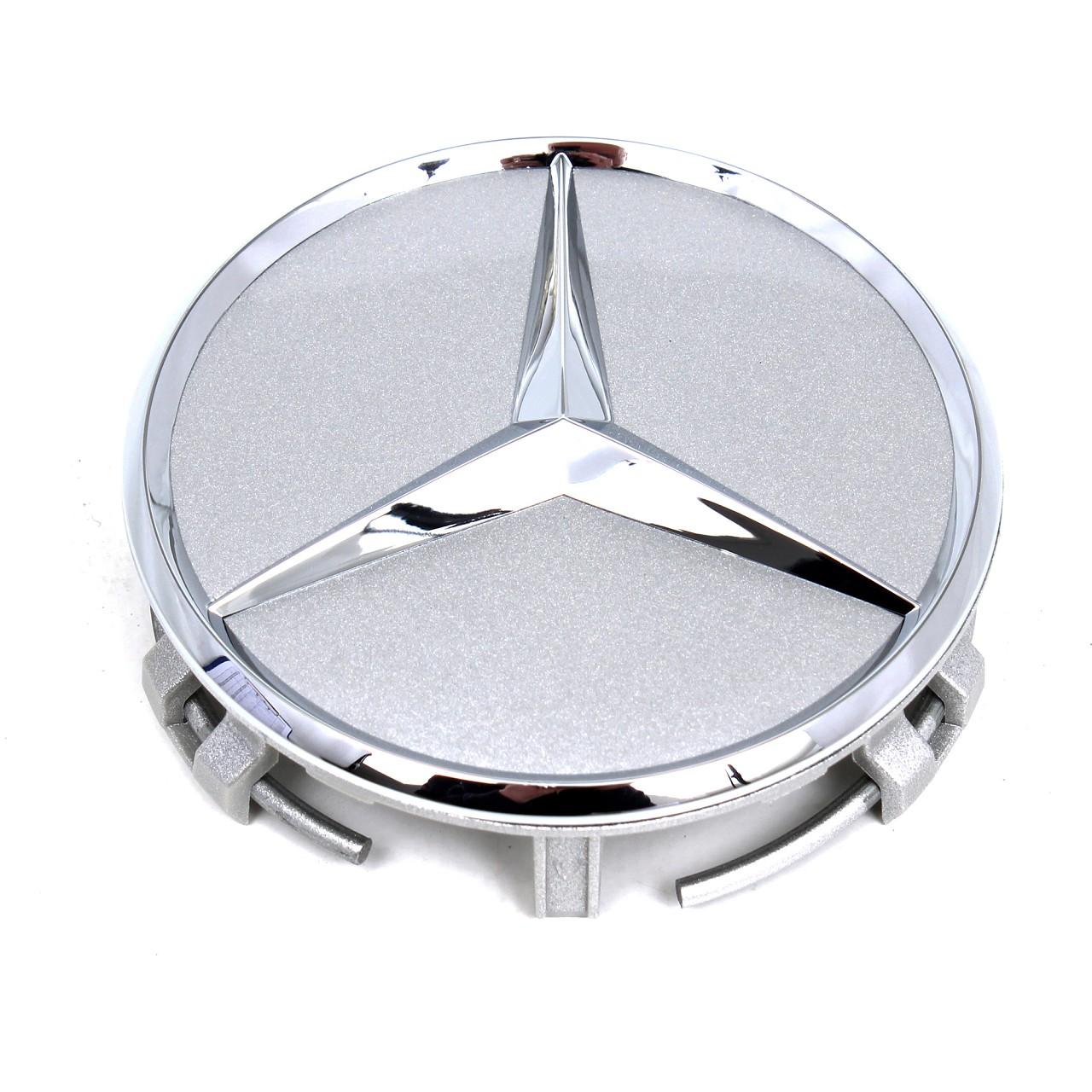 ORIGINAL Mercedes Nabendeckel Felgendeckel Ø 75 mm SILBER (1 Stück) 166470202