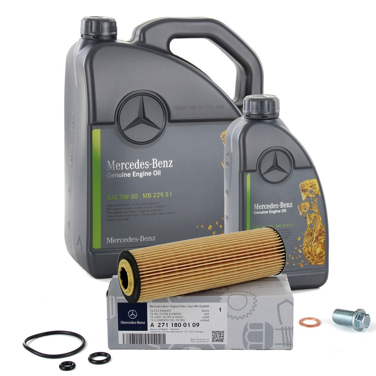 ORIGINAL Mercedes-Benz Motoröl 5W30 MB 229.51 6 Liter + Ölfilter 2711800109