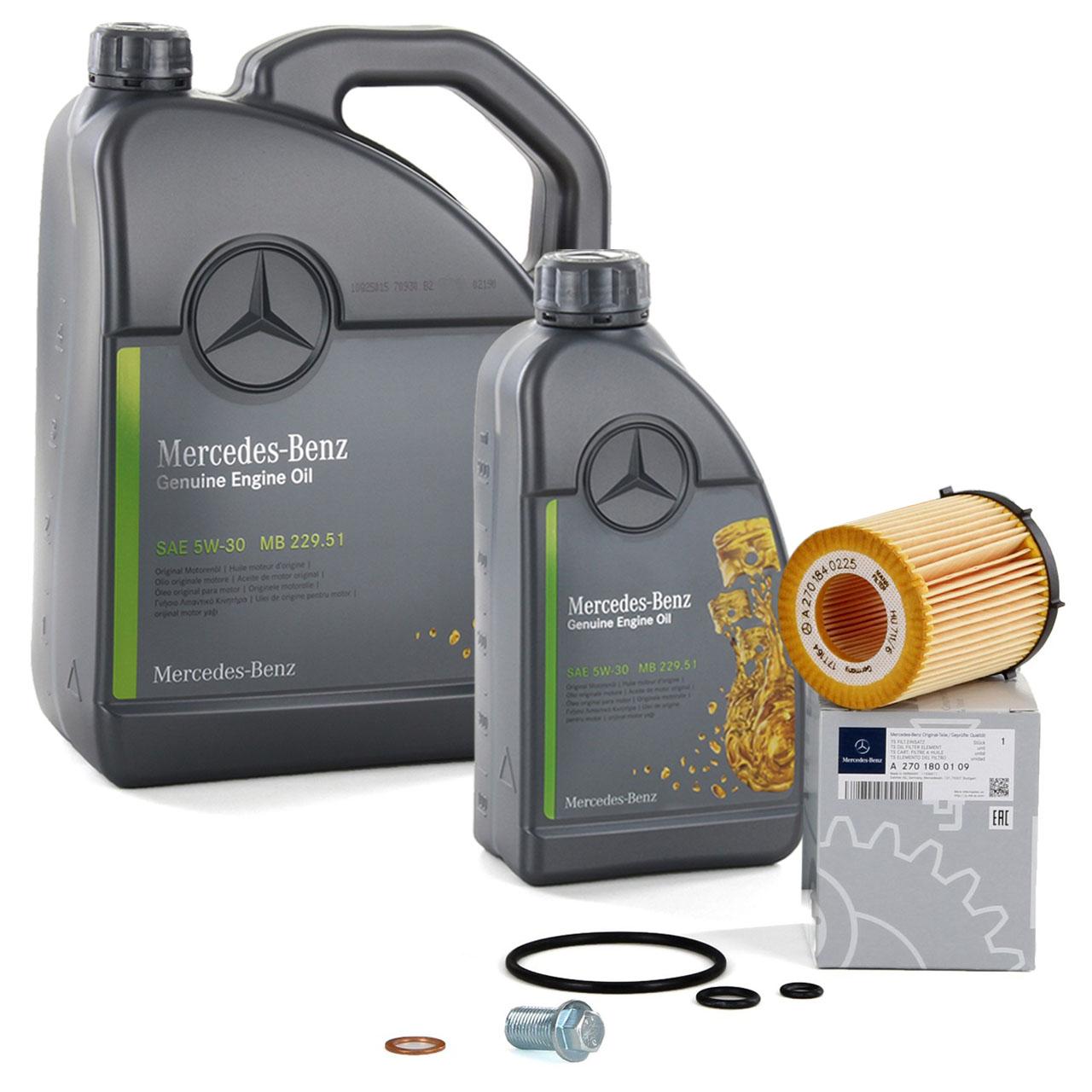 6 Liter ORIGINAL Mercedes-Benz ÖL Motoröl 5W30 MB 229.51 + Ölfilter 2701800109