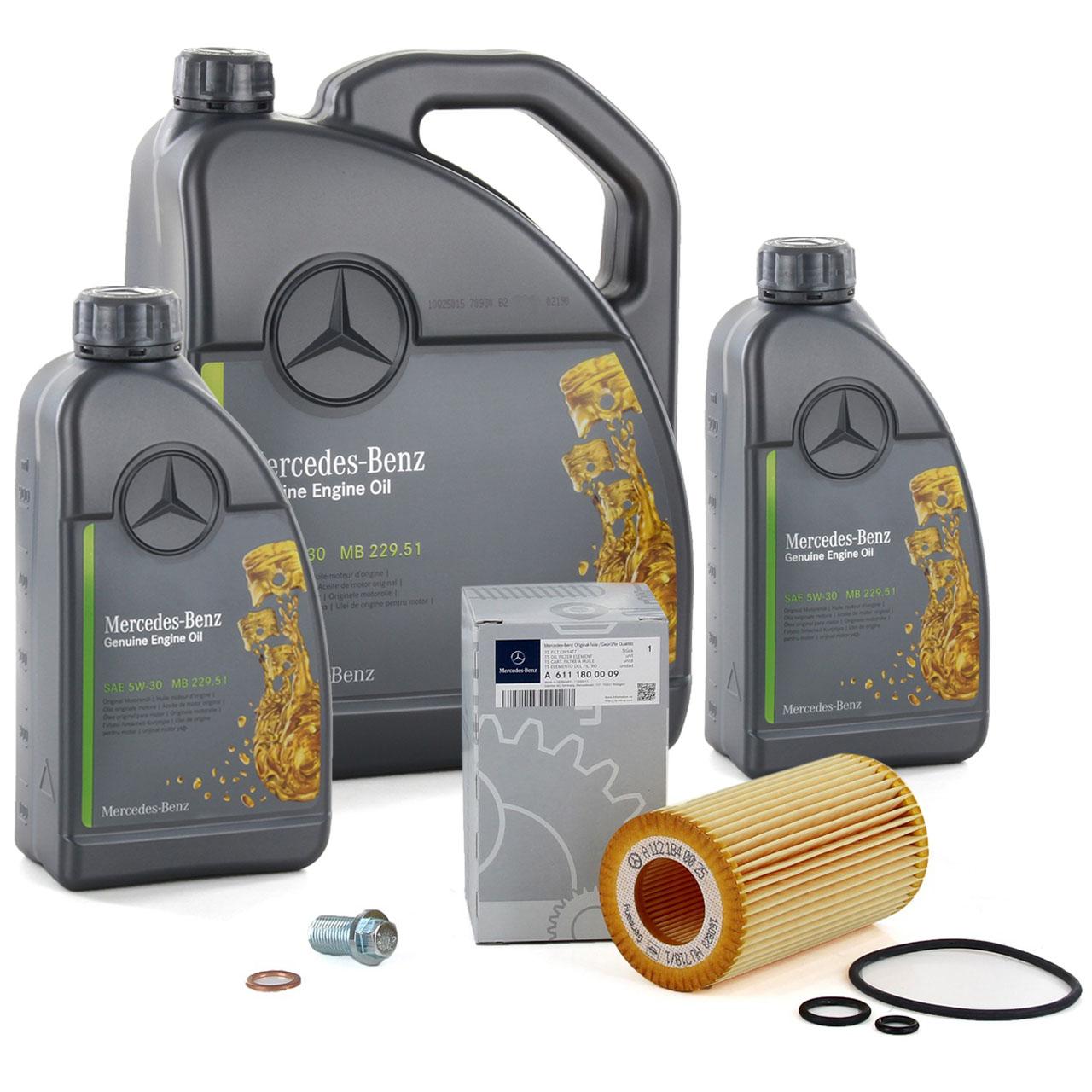 7 Liter ORIGINAL Mercedes-Benz Motoröl 5W30 MB 229.51 + Ölfilter 6111800009