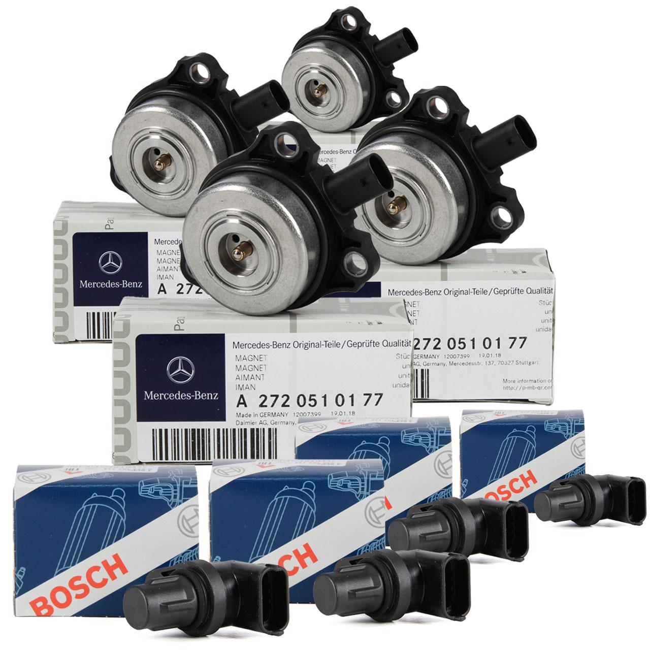 4x ORIGINAL Mercedes Zentralmagnet + 4x Nockenwellensensor OM272 W204 W211 W221