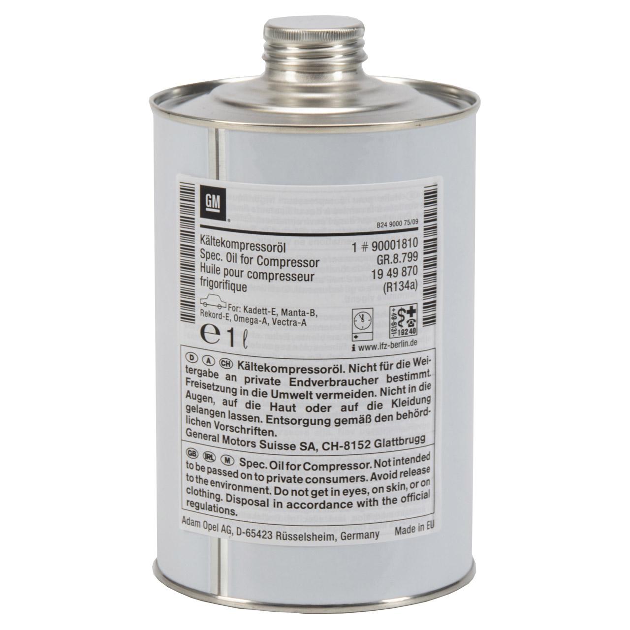 ORIGINAL Opel Kompressor-Öl Kompressoröl Kälteöl R134a 1000ml 90001810