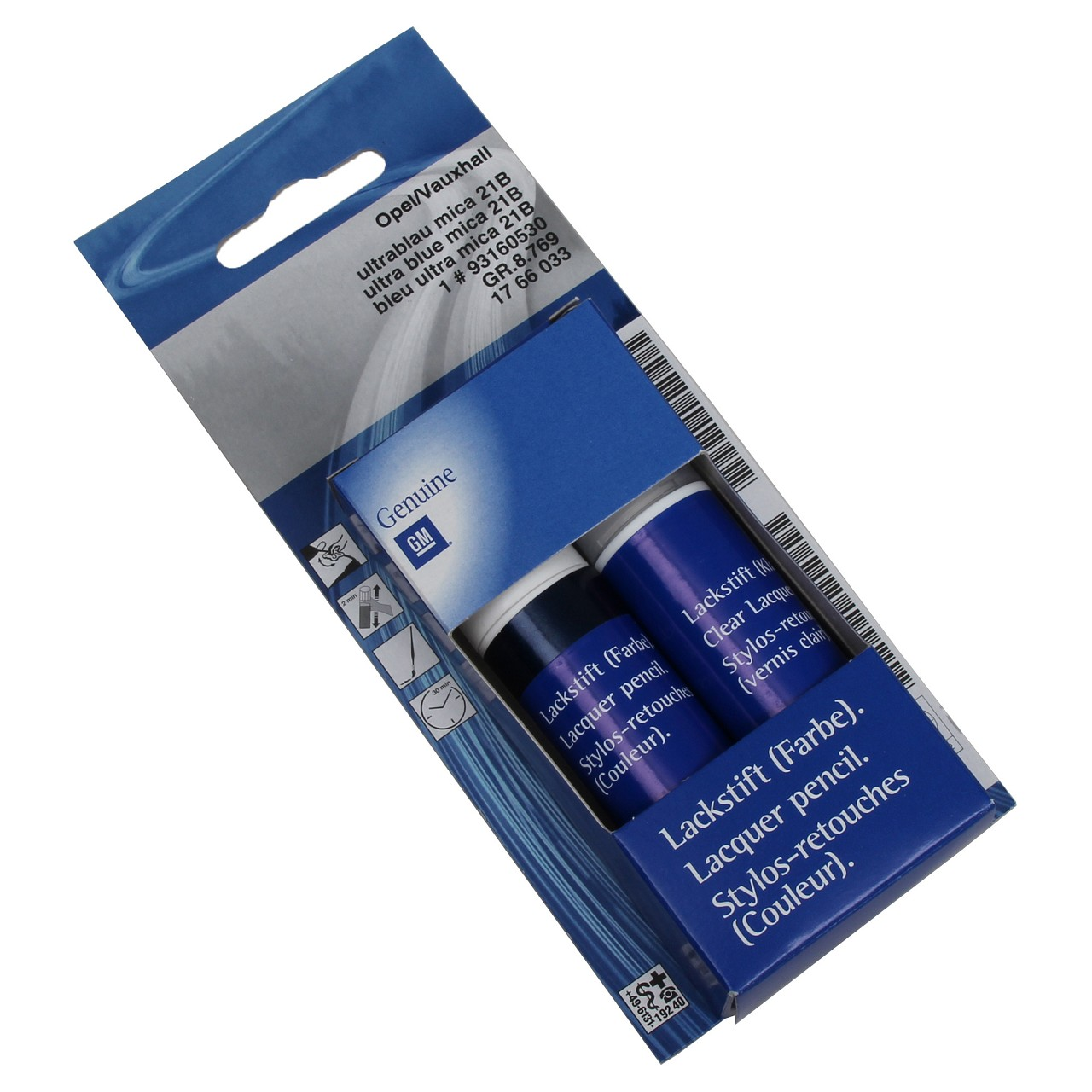 ORIGINAL GM Opel Lackstift Set ULTRABLAU BLAU 21B + Klarlack 12ml 93160530