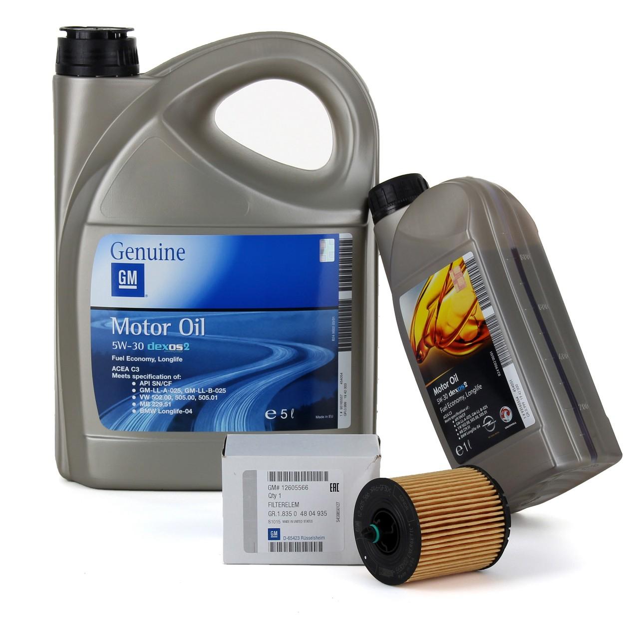 6L 6 Liter ORIGINAL OPEL MOTORÖL 5W-30 dexos2 Longlife + Ölfilter 12605566
