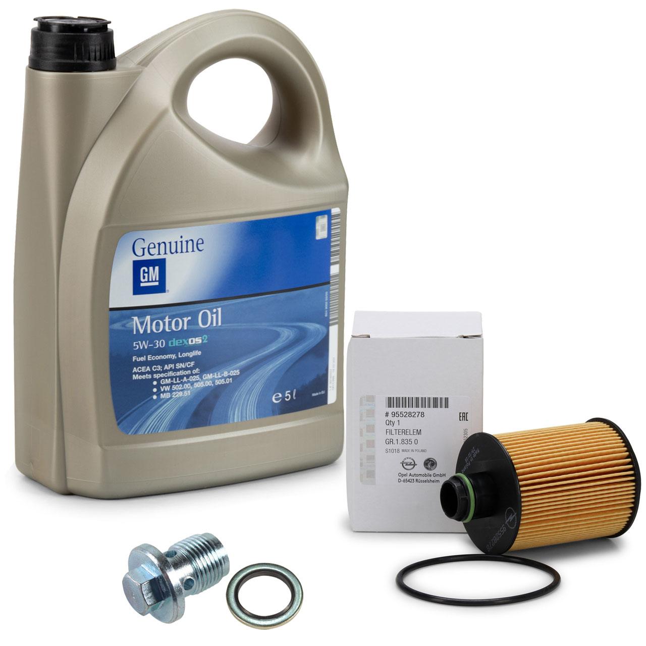 ORIGINAL GM Opel Motoröl 5W30 Dexos2 5L + Ölfilter 95528278 + Schraube 2.0 CDTI