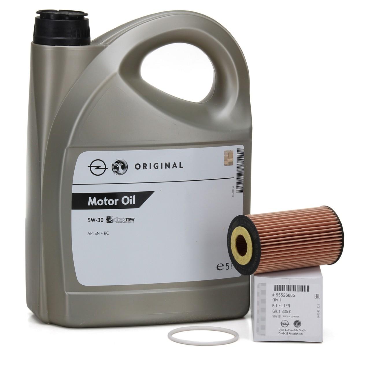 ORIGINAL Opel Motoröl 5W30 DEXOS1 Gen2 LONGLIFE 5L 95527874 + Ölfilter 95526685