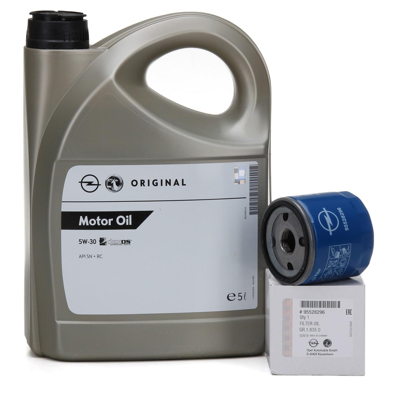 ORIGINAL Opel Motoröl 5W30 DEXOS1 Gen2 LONGLIFE 5L 95527874 + Ölfilter 95528296