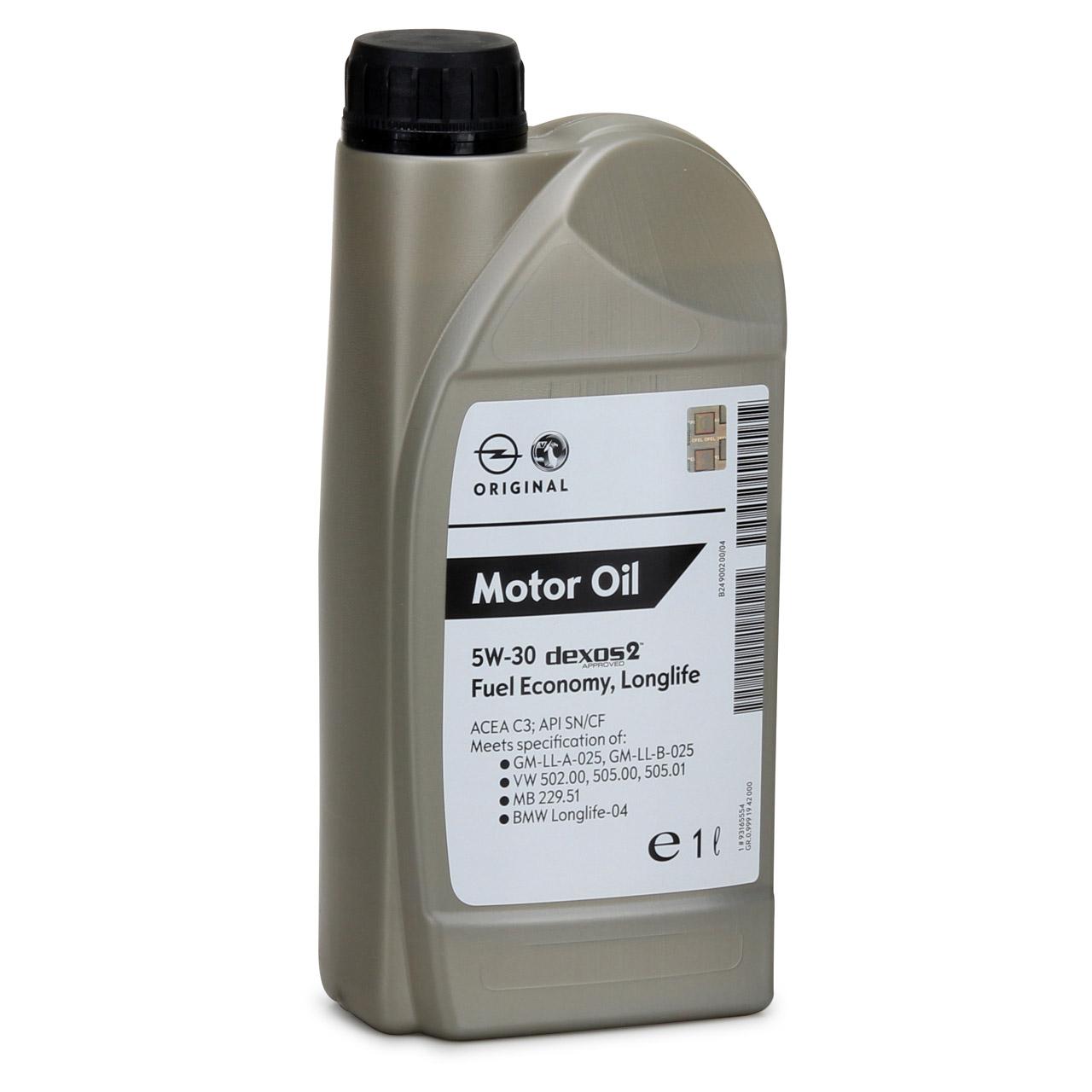 ORIGINAL Opel GM Motoröl Öl 5W30 Dexos2 LongLife 1 Liter 1942000