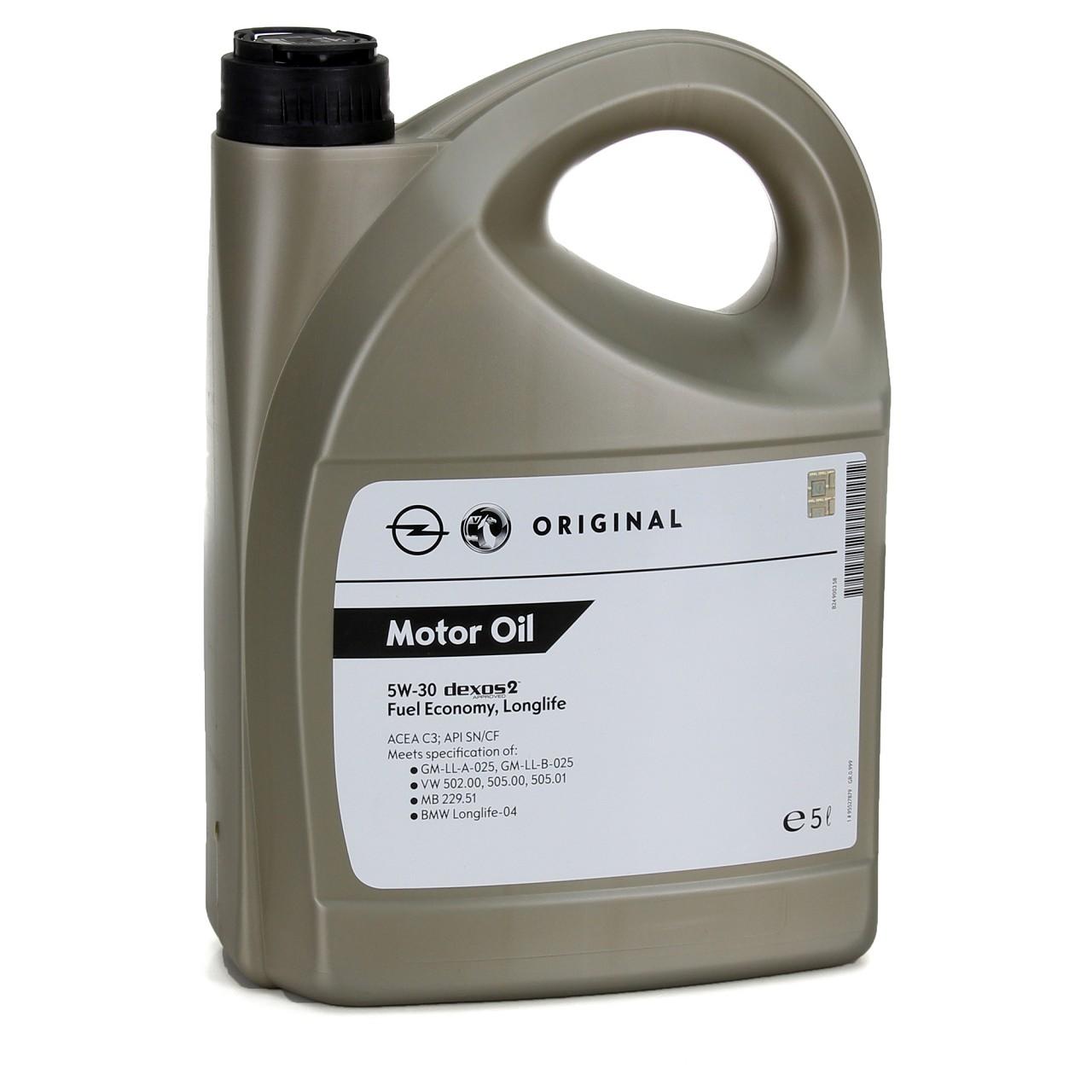 ORIGINAL GM Opel Motoröl ÖL 5W30 dexos2 Fuel Economy Longlife 5 Liter 95527879