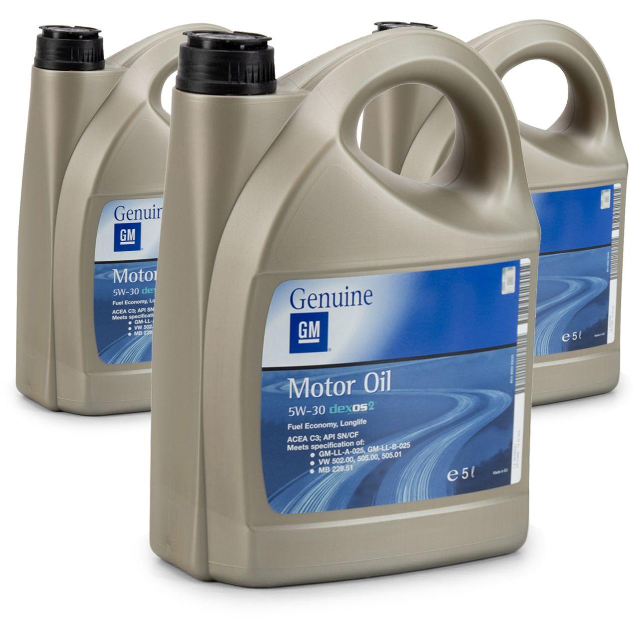 15 Liter = 3x5 ORIGINAL OPEL GM MOTORÖL 5W-30 dexos2 Longlife 5W30 ÖL - 1942003