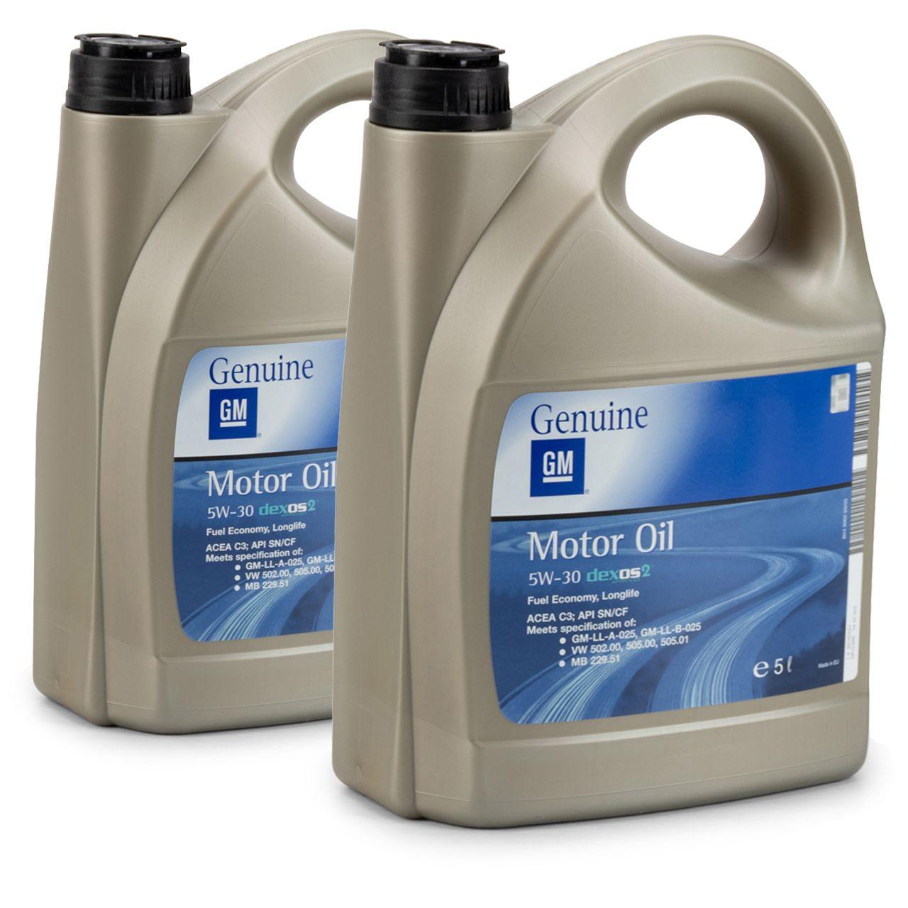 10 Liter = 2x5 ORIGINAL OPEL GM MOTORÖL 5W-30 dexos2 Longlife 5W30 ÖL - 1942003