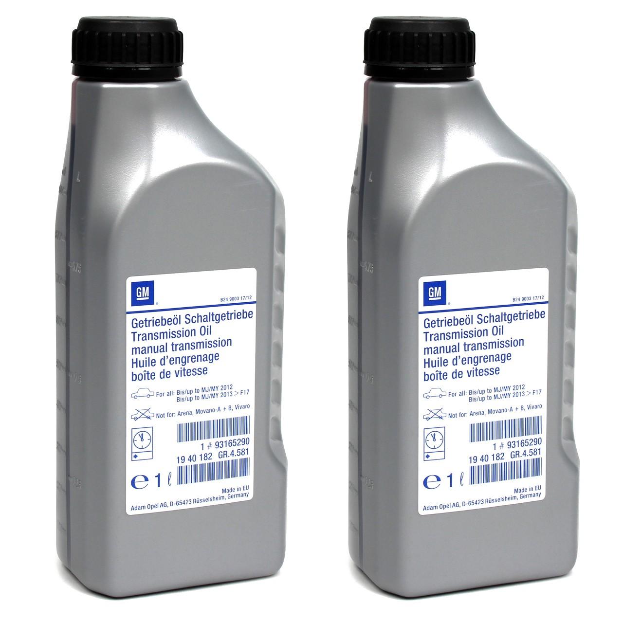 2x 1 Liter ORIGINAL Opel Schaltgetriebeöl ÖL SAE E80 SAE 75W-85 BOT 402 93165290