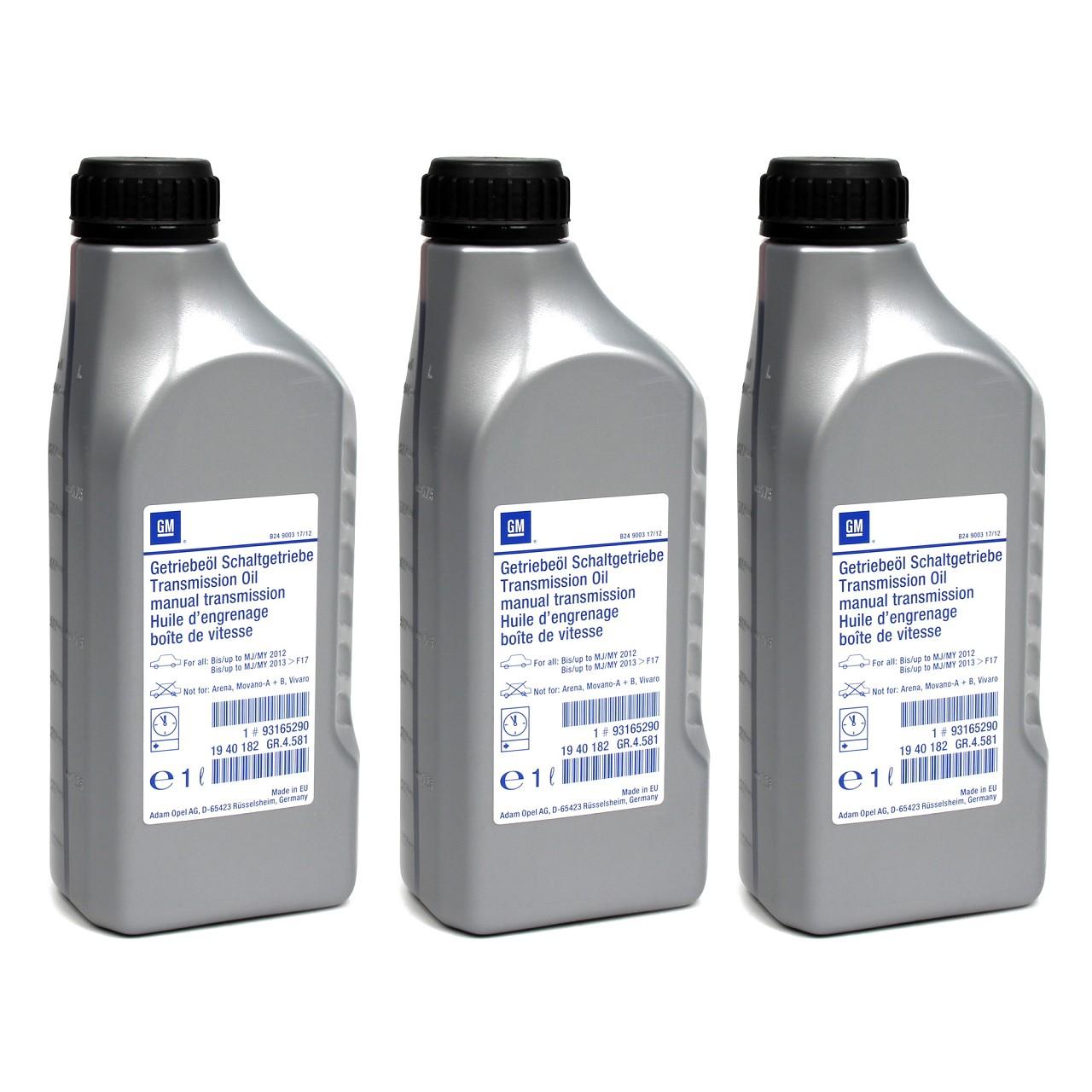 3x 1 Liter ORIGINAL Opel Schaltgetriebeöl ÖL SAE E80 SAE 75W-85 BOT 402 93165290