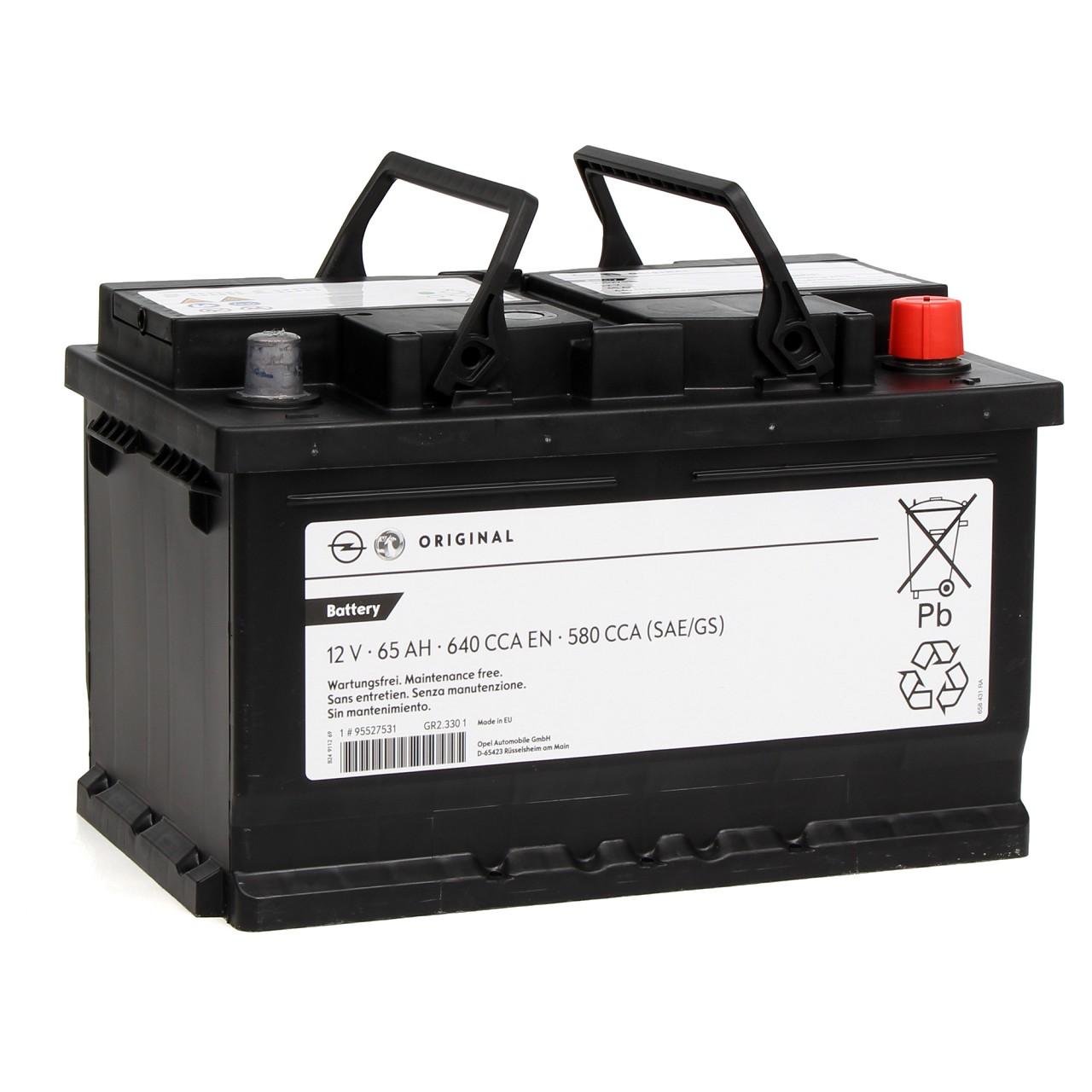 ORIGINAL Opel Autobatterie Batterie Starterbatterie 12V 65Ah 370/640A 95519151