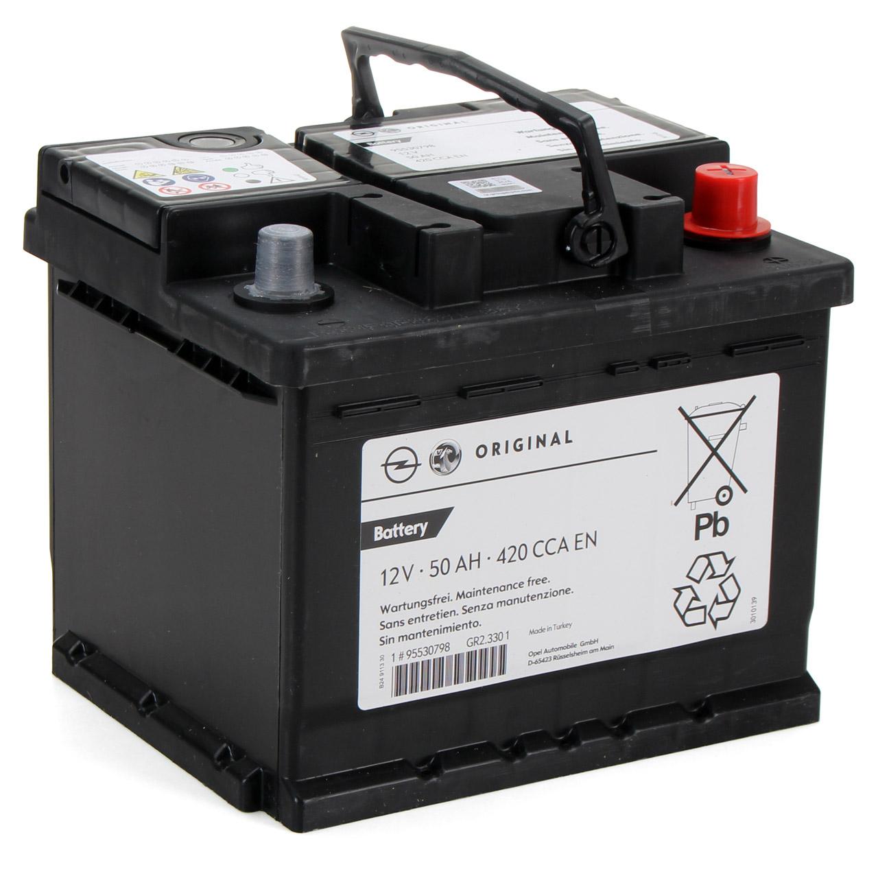 ORIGINAL GM Opel Autobatterie Batterie Starterbatterie 12V 50Ah 420A 95527530