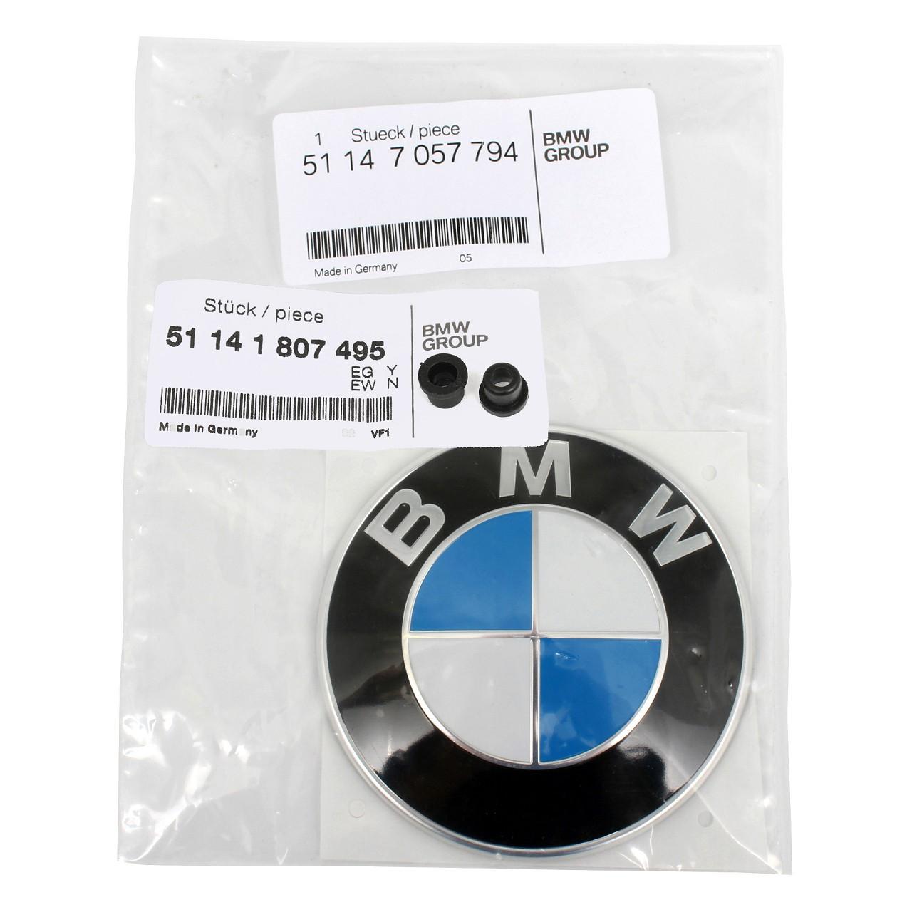 ORIGINAL BMW Emblem Logo Motorhaube Heckklappe Ø 82 mm 51147057794 + Tülle