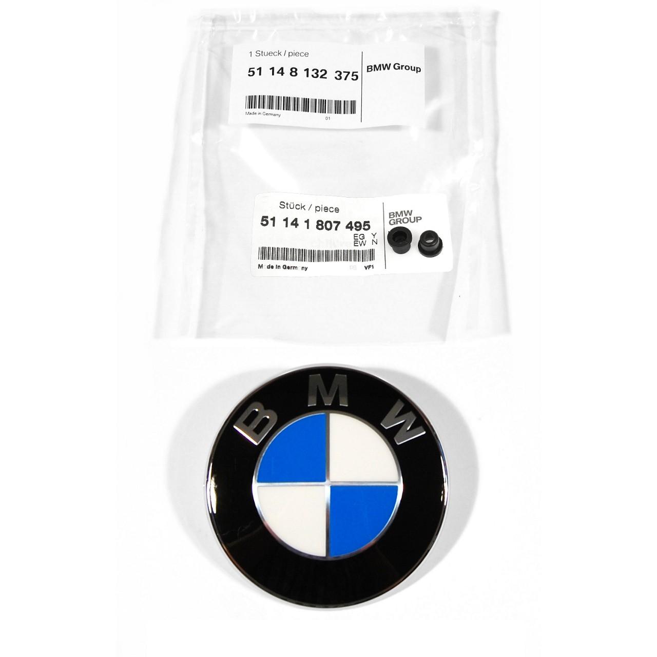 ORIGINAL BMW Emblem Logo Motorhaube Heckklappe Ø 82 mm 51148132375 + Tülle