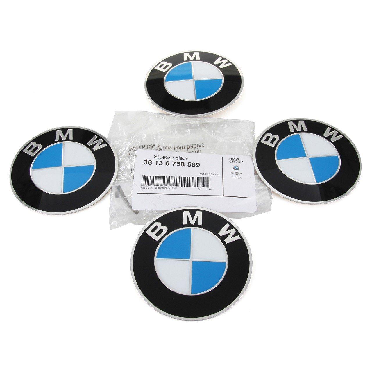 4x ORIGINAL BMW Nabendeckel Aufkleber Emblem Ø 70 mm 3er 5er 6er 7er 36136758569
