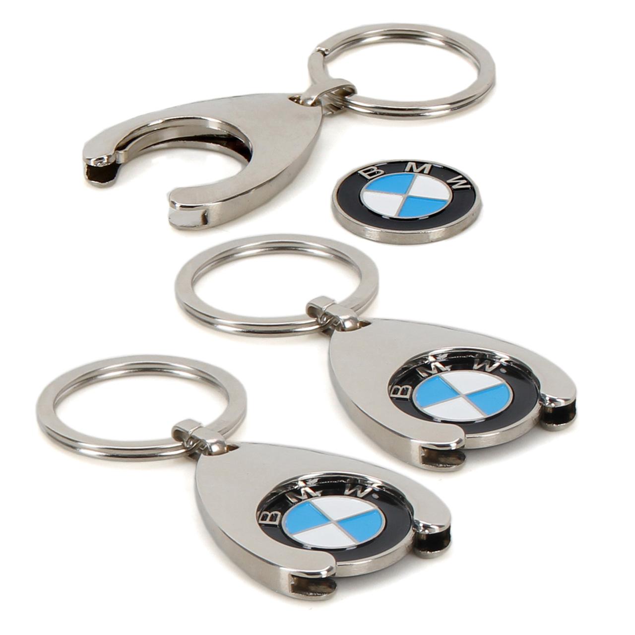 3x ORIGINAL BMW Schlüsselanhänger + Einkaufschip Chip Einkaufswagen 80272446749