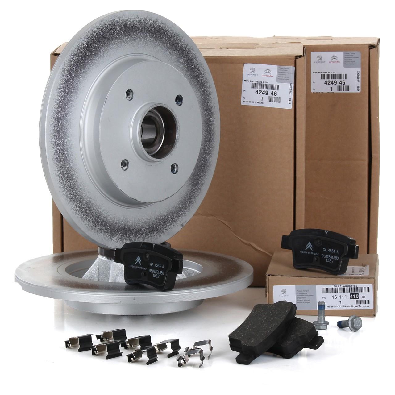 ORIGINAL Citroen Bremsen Kit Bremsscheiben + Bremsbeläge C4 PICASSO I hinten