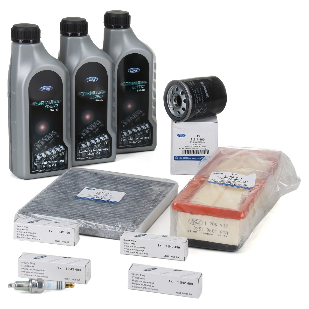 ORIGINAL Ford Inspektionskit Aktivkohle + 3L Öl 5W40 + 4x Zündkerze KA (RU8) 1.2