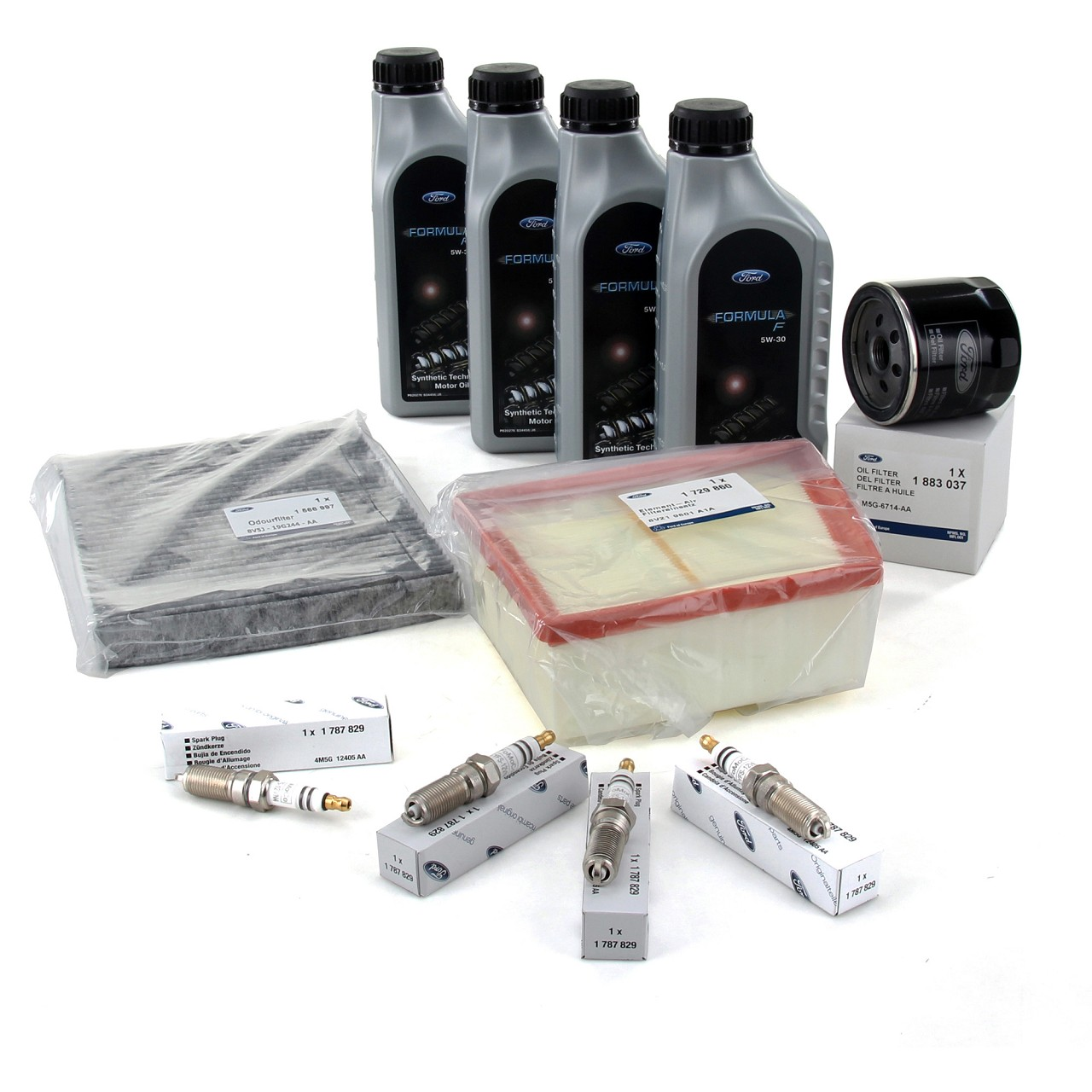 ORIGINAL Ford Inspektionskit + 4L 5W30 Motoröl + 4x Zündkerze B-MAX FIESTA VI