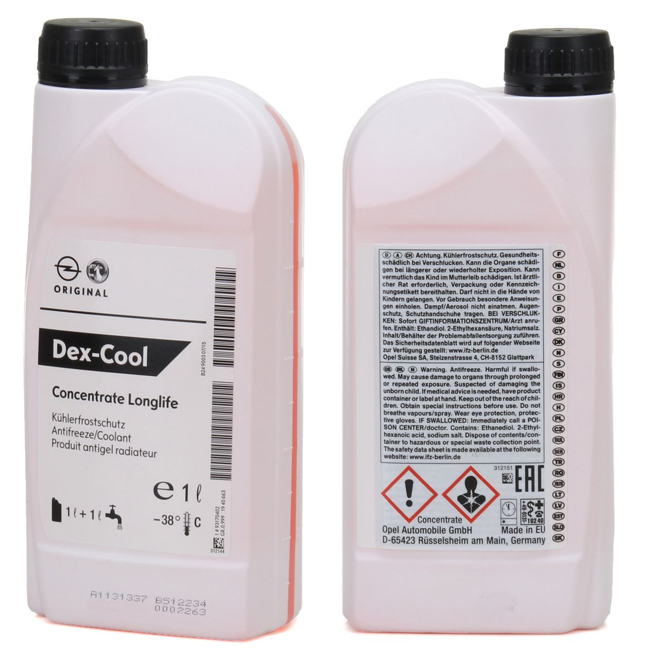 ORIGINAL GM Opel Kühlerfrostschutz Konzentrat LONGLIFE DEX-COOL 2 Liter