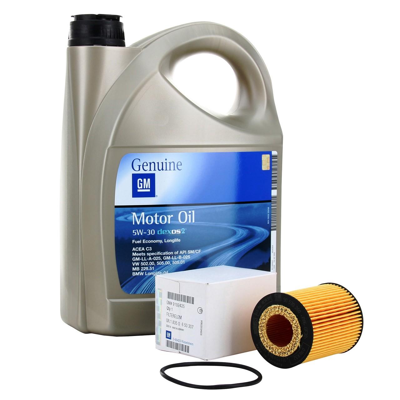 ORIGINAL GM Opel Motoröl 5W30 5W-30 Dexos2 LongLife 5 Liter + Ölfilter 9192425