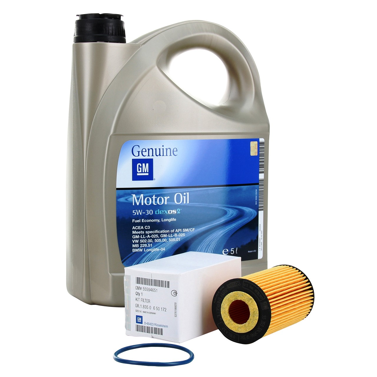 5 Liter ORIGINAL GM Opel Motoröl 5W30 5W-30 Dexos2 LongLife + Ölfilter 95526685