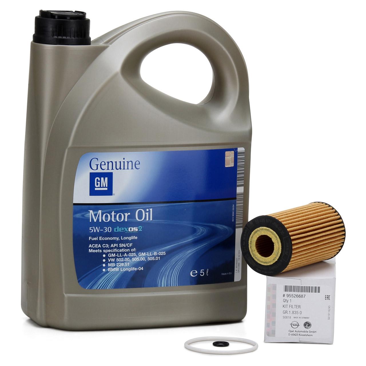 ORIGINAL OPEL Motoröl 1.6 CDTi 5W-30 dexos2 LongLife 5 Liter + Ölfilter 95526687