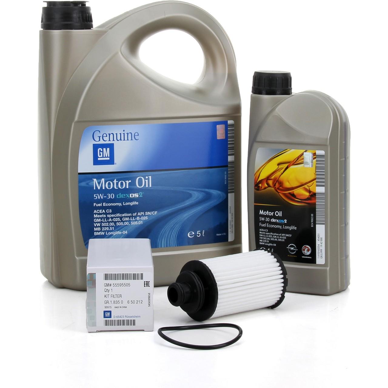 ORIGINAL GM Opel Motoröl 5W30 Dexos2 LongLife 6 Liter + Ölfilter 55595505